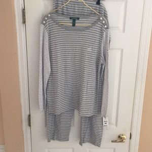 NWT gray white striped pajamas set Lauren XL sleep